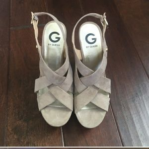 Guess Tan Velour strappy wedges - size 8